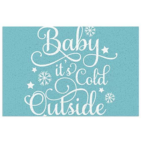 Felpudo con respaldo de PVC resistente para bebé, es frío, duradero, antideslizante, para entrada delantera, para interior y exterior, 23,6 x 15,7 cm