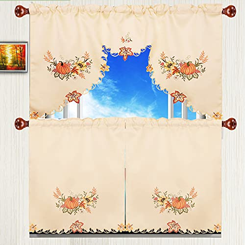 Simhomsen Embroidered Fall Autumn Harvest Pumpkins Kitchen Window Curtain Swag and Tiers Set for Thanksgiving (Pumpkin)
