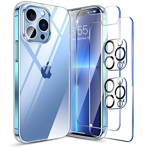 LK Funda Compatible con iPhone 13 Pro MAX 6.7 Pulgadas, 2 Pack HD Cristal Protector de Pantalla y 2 Vidrio Templado Protector de Lente de Cámara, Carcasa Suave TPU Silicona Cover - Clara