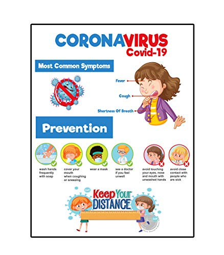 Coronavirus Covid19 Signs Social Distancing Sign, Symptoms and Prevention Table Wall Poster (Cardstock, 8.5' x 11')
