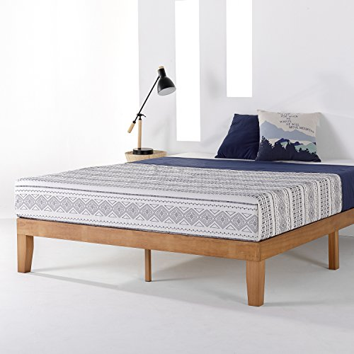 Mellow Naturalista Classic - 12 Inch Solid Wood Platform Bed with Wooden Slats, No Box Spring Needed, Easy Assembly, King,Natural Pine