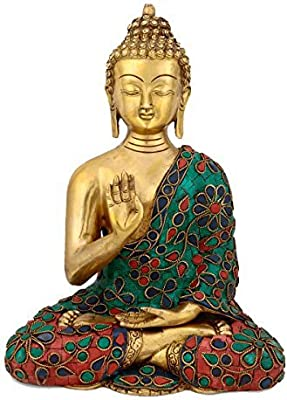 Idol Collections Large Blessing Buddha with Golden Finish Brass Statue Multicolor
