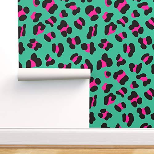 rosa, grün, retro, Tier, 80er Jahre, gefleckt, Inneneinrichtung, Druck Spezialangefertigte Vorgekleisterte Tapete 61 cm x 310 cm von Spoonflower