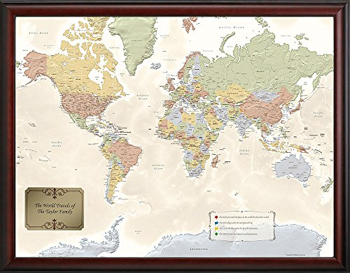 Map Your Travels World Map with Push Pins - Personalized World Traveler Map…