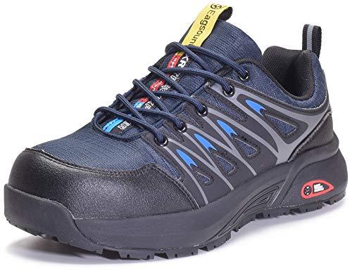Zapatos de Seguridad para Hombre Zapatillas de Trabajo con Puntera de Acero,Calzado de Industrial y Deportiva,Azul,44