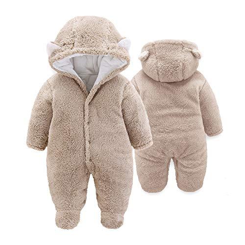 XMWEALTHY Unisex Baby Cloth Winter Coats Cute Newborn Infant Jumpsuit Snowsuit Bodysuits Khaki M