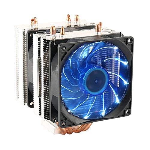 Ventilador dual para CPU y PC, disipador de calor, ventilador LED para CPU y refrigerador de aire, solución universal