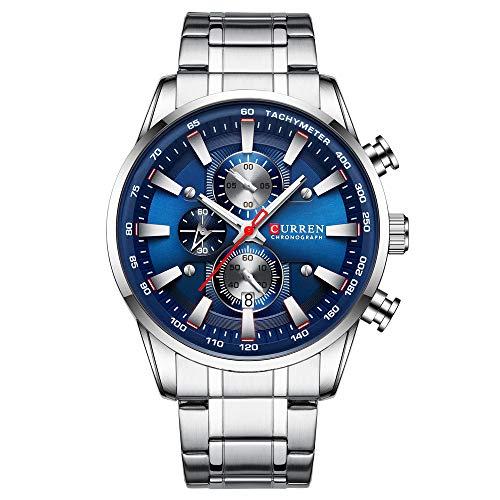 Curren Reloj para hombre con varias zonas horarias y fecha, caja azul, acero inoxidable, plata, 8351