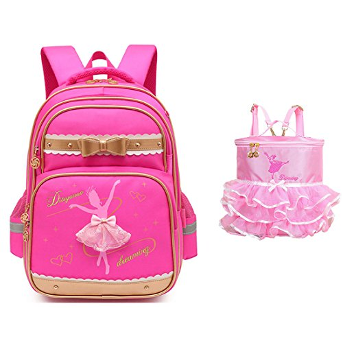 Debbieicy Cute Ballet Dance Girl Waterproof Backpack Princess School Bag Kids School Bookbag for Girls (Rose2, Small)