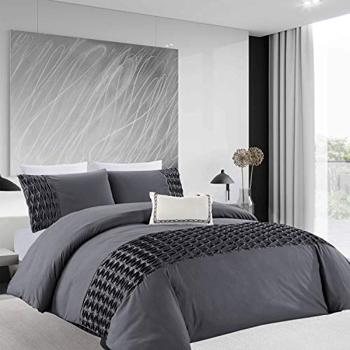 Oxford Homeware Quilt Cover Brushed Microfiber Pintuck Duvet Covers Bedroom Décor Ultra Soft Hypoallergenic Bedding Set + Pillowcases (Grey Wrinkled, Double, (200x200 cm))