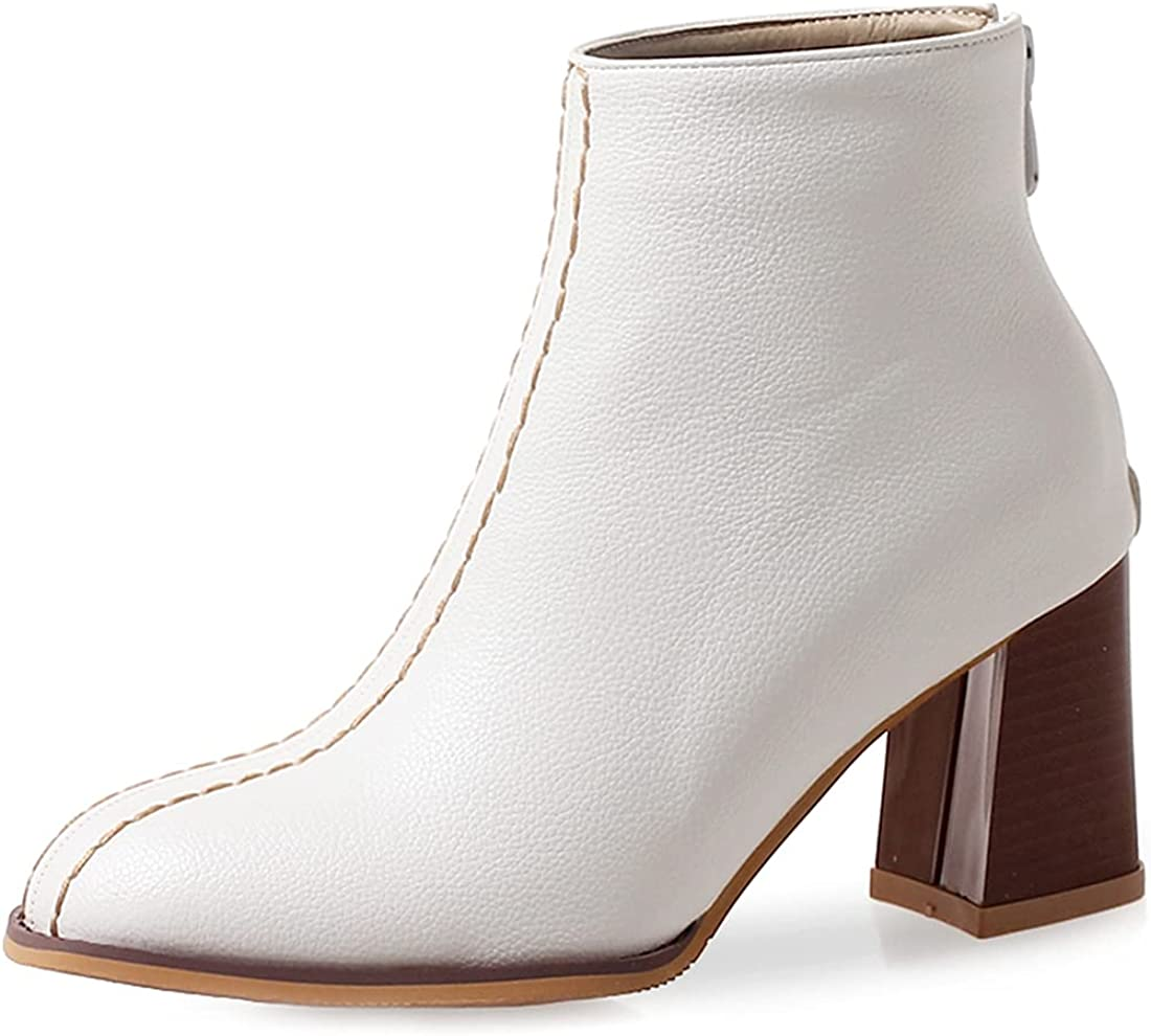 VOKLIN Women's Chunky Stacked Block Max 76% OFF Boots Ankle High Heel Mail order cheap Round