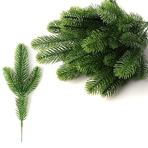 10pcs Artificial Pine Branches Green Leaves Needle,Artificial Pine Tree Branches Plastic Pine Leaves,Garland Green Plants Pine Needles for Home Garden Christmas Decoration DIY craft Wreath