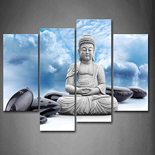 Buddha and Spa Stone in Blue Sky Wall Art Painting Pictures Print On Canvas Religion The Picture for Home Modern Decoration
