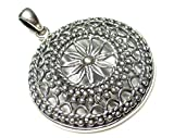 Silberschmuck - BG Gran colgante de mandala de plata de ley 925 trabajado en filigrana de 4 cm de diámetro, regalo, joya y símbolo de protección