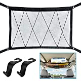 WARMQ Car Interior Ceiling Cargo Net Bag, 31'x23' Adjustable Double-Layer Mesh Roof Organizer with Car Seat Hooks, Zipper and Drawstring Design, Universal for Car SUV Truck Sundries Storage