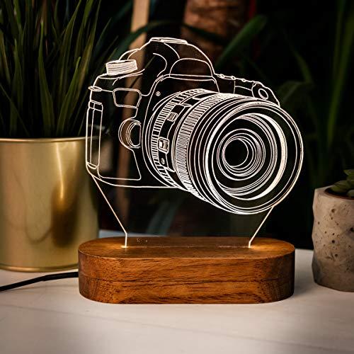 Lámpara de noche en forma de cámara digital 3D, ilusión 3D, lámpara de noche con diseño de cámara genial, acrílico lámpara de escritorio regalo para los amantes de la fotografía.