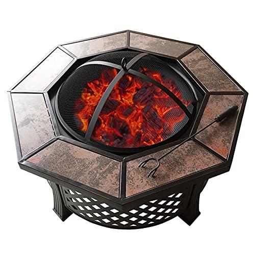 XZQ Brasero Exterior Parrilla De Barbacoa De Cerámica Octogonal Multifuncional para Patio De Jardín, Parrilla De Carbón para El Hogar (Color : Black, Size : 81 * 37CM)