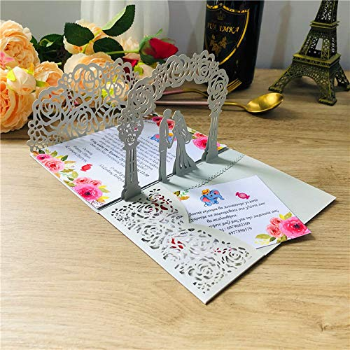 1x 3Dpop-up Card Gold Gray Three3Folding Pocket Wedding Invitation Card Laser Cut Invitation Envelope EnvelopeA2pearlgrayGreeting Card