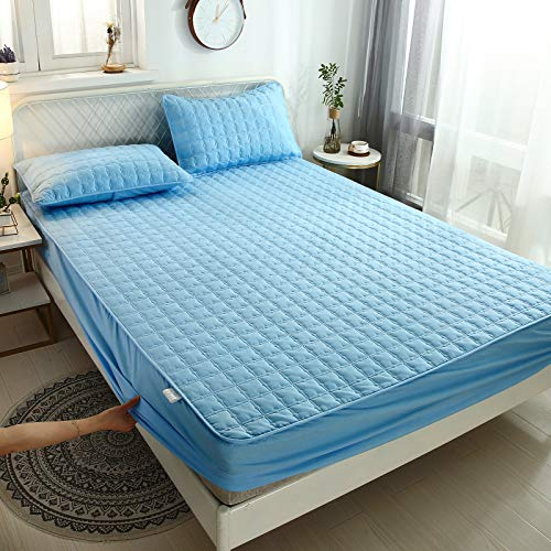 IKITOBI Sábanas bajeras dobles lisas teñidas y de fácil cuidado, ropa de cama de lujo de 200 x 220 (impermeable apto para 28 ~ 40 cm)