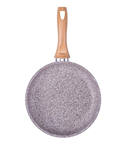 "culinario Aluminium Bratpfanne ""Stonewood"" in Granit-Optik, Ø 24 cm, Griff im Holzdesign, antihaft und induktionsgeeignet"
