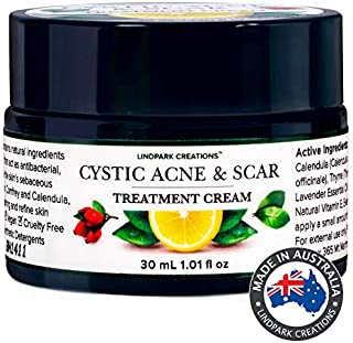Cystic Acne & Scar Treatment Cream Extra Strong Tea Tree Oil, Nigella Sativa, Green Tea, Rosehip and Vitamin E to Reduce I...