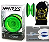 Henrys LIZARD YoYo (Green) Professional Entry-Level YoYo +Instructional Booklet of Tricks & Travel Bag! Pro YoYos For Kids and Adults!