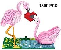 Zenghh ビルディングブロック玩具レンガ漫画の豚かわいい猫ラブリーキリンピンクフラミンゴパンダペット犬の3DダイヤモンドStitich組立スプライシングモデルミニチュアDIY教育パズルゲーム (Color : Flamingo)