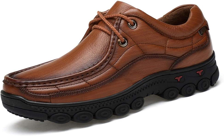NonSlip WearResistant Business Casual shoes Men Leather Men's shoes Casual Top Layer Leather Men's shoes (color   Light Brown, Size   45)