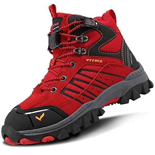 Scarpe da Escursionismo Stivali da Neve Scarpe da Trekking Unisex – Bambini(G Rosso,33 EU)
