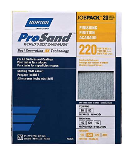 Norton 02636 Prosand 3X High Performance Sanding Sheet, 220 Grit