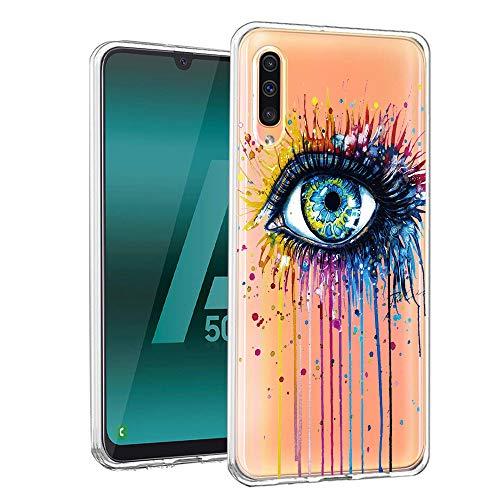 ZhuoFan Samsung Galaxy A50 Hülle, Schutzhülle Silikon Transparent mit Muster Motiv Handyhülle Ultra Dünn Slim Stoßfest Weich TPU Bumper Case Backcover für Samsung Galaxy A50, Auge