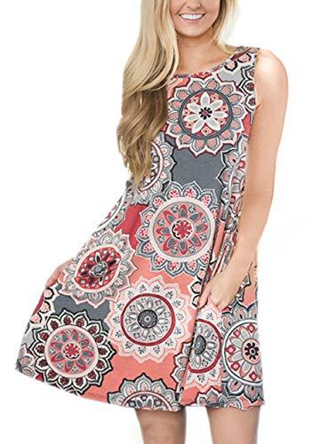 OMZIN Vestido de verano para mujer, estilo informal, holgado, sin mangas, forma de camiseta larga, tallas XS-XXXL Flores grises. S