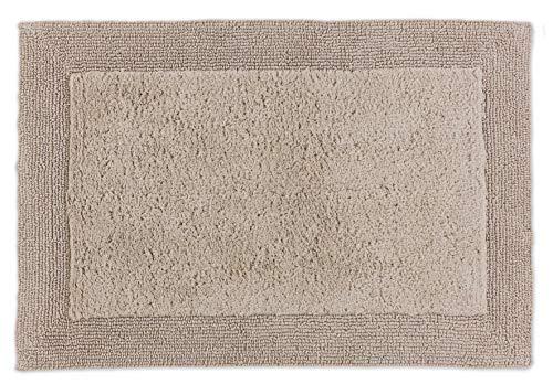 Schöner Wohnen Badematte – beidseitig verwendbar – waschbarer Badvorleger – Bordüre – 100% Baumwolle – beige – 60 x 90 cm