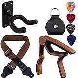 Guitar Capo Strap Hanger Rosewood Color Capo Pure Cotton Guitar Strap Black Guitar Hanger Compositive Guitar Accessories Kit