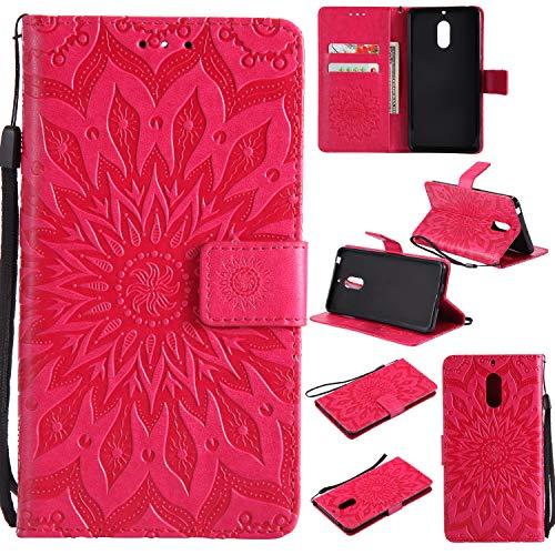 Jeewi Hülle für Nokia 6 Hülle Handyhülle [Standfunktion] [Kartenfach] [Magnetverschluss] Tasche Etui Schutzhülle lederhülle klapphülle für Nokia 6 - JEKT032129 Rot