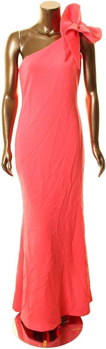 BETSY & ADAM Women's Ruffled One-shoulder Scuba Ball Gown Dress