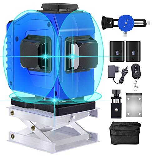 Kreuzlinienlaser 25m, 3D 12 Linien Grün Strahl Laser Wasserwaage, 3x360 Grad Rotationslaser Selbstnivellierend, Linienlaser Enthält 2 * 5800mAh Lithium Batterien