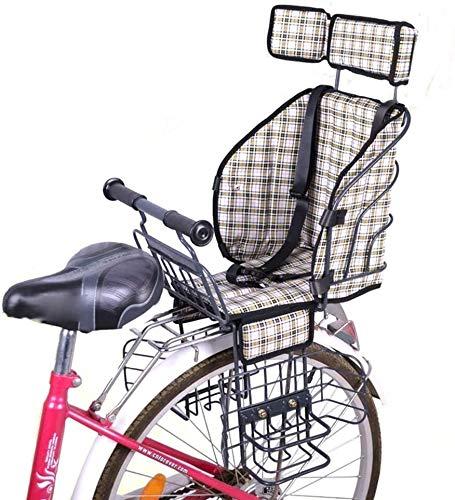 Toddler Carrier Seggiolino for Bambini Biciclette Kids Bike elettrici Anteriori Sedia del Bambino dell'ammortizzatore della Sella Stabile Carrier Sicurezza Sport (Color : Beige, Size : 3)