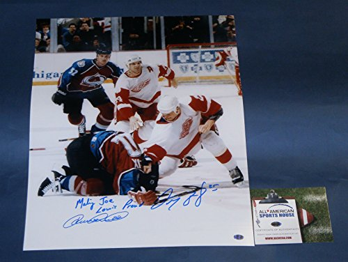 DARREN McCARTY vs. CLAUDE LEMIEUX AUTOGRAPHED 16X20 PHOTO MAKING JOE LOUIS PROUD! DETROIT RED WINGS COLORADO AVS AASH GREAT INSCRIPTION! HUGE PHOTO!