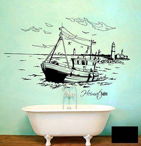 Wandtattoo Wandaufkleber Warnemünde Leuchtturm maritim M1487 - ausgewählte Farbe: *Schwarz* ausgewählte Größe:*XL 140cm breit x 80cm hoch