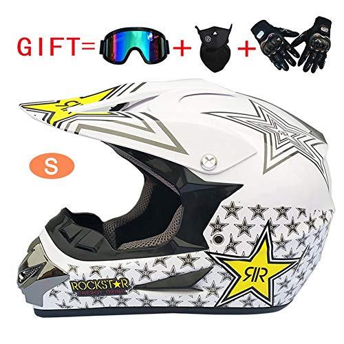 Welltobuy Carretera Moto Casco para Niños Motocross Youth Casco Infantil Casco De Moto De Moto Todoterreno con 1 Casco 1 Máscara 1 Gafas 1 Guantes