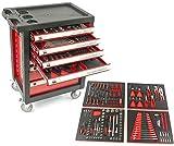 EDICIÓN CARBONO - Carro de taller con herramientas ROJO, 7 cajones y cuatro modulos