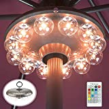 HONWELL Patio Umbrella Light, 3xD Battery Operated Umbrella Pole Light with RF Remote 80Ft Through Wall, 12 Bulb 48 LEDs,4 Modes, 12 Color Changing Outdoor Camping Light with Hanging Ring for Umbrella