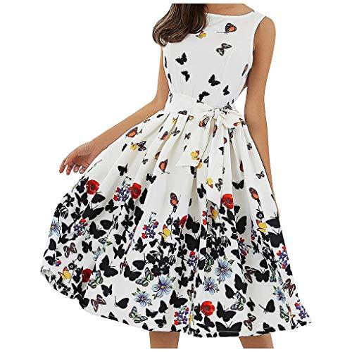 Watopi Damen Frauen Blumen Vintage Plissee ärmellose Reißverschluss Schärpen Kleid Retro Kleid