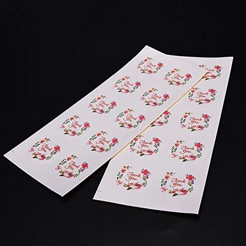 Lsmaa 100 stks Bloem Ontwerp Dank U Stickers, 3.5cm Sticker Papier Labels Seals Voor Geschenken Bruiloft Partijen