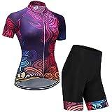 Hplights Conjunto Ropa Equipacion Traje Ciclismo Mujer para Verano, Maillot Ciclismo Mujer + Culotte Ciclismo Culote Bicicleta,XS