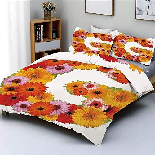 Juego de funda nórdica, composición con flores frescas del jardín, fuente floral inspirada en el verano animado, juego de cama decorativo decorativo de 3 piezas con 2 fundas de almohada, multicolor, e