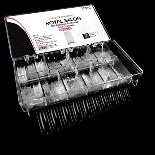 VIVACE Clear Royal Salon 500 Artificial False Nail Tips 10Sizes With Clear Plastic Case for Nail Shop Nail Salon …