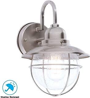 Hampton Bay BOA1691H-BN 1-Light Outdoor Cottage Lantern, Brushed Nickel