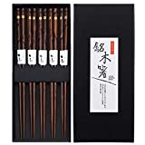 KUAHAIHINTERAL Wood Sushi Chopsticks, 5 Pairs Japanese Natural Wooden Chop Stick Reusable Classic Style Chopstick Set with Delicate Box as Present Gift (Gloden Flower)
